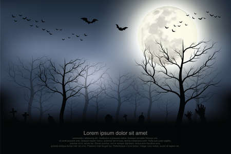 Illustration pour Halloween background. Spooky forest with full moon and grave. - image libre de droit