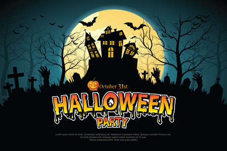 Illustration pour Castle, haunted house and ghost hands, tomb on full moon night. illustrator Vector - image libre de droit