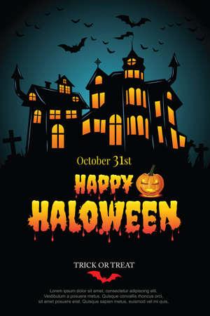 Illustration pour Halloween party poster with Haunted castle. illustrator Vector - image libre de droit