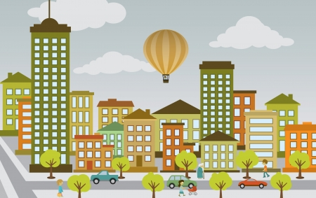 Illustration pour Flat city life - image libre de droit