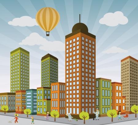 Illustration pour City life in perspective - image libre de droit