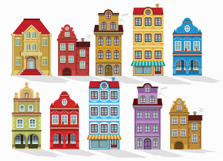 Vector illustration of historical houses