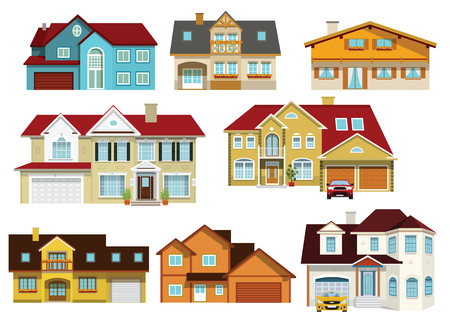 Vector illustration of colorful modern city houses collection