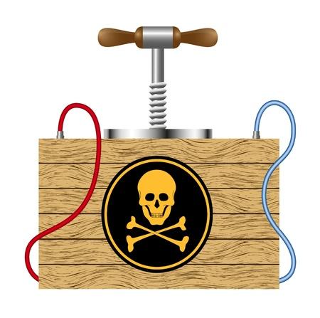 Bomb (detonation cabinet) with danger sign (skull symbol)