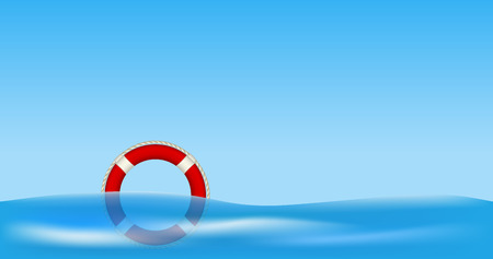 Illustration pour Red life buoy floating on water - image libre de droit