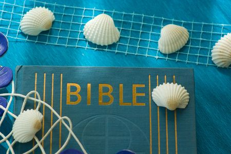 blue marine still life with Bible