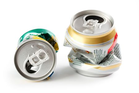 photo shot of crushed beer can