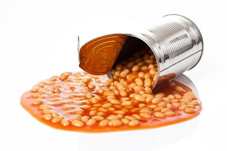 photo shot of beans in tin can