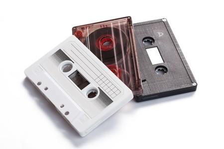 audio cassettes on white background