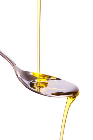 photo shot of olive oil poured into spoon