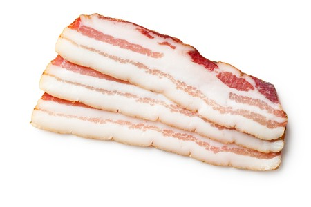 smoked bacon isolated on white background