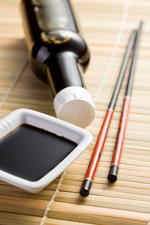 the photo shot of soy sauce and chopsticks