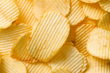 shot of potato chips