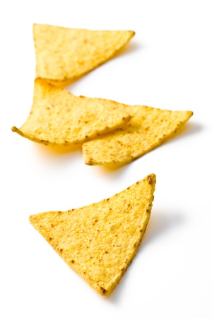 the nachos chips on white background