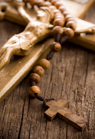 the Wooden rosary beads and crucifix