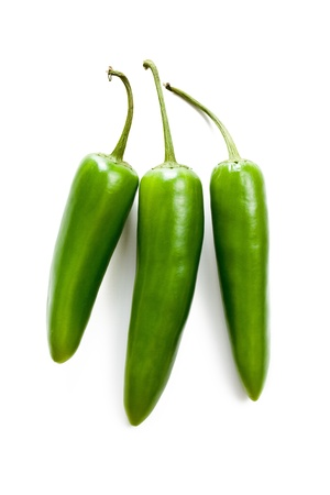 Jalapenos Chili Peppers on white background