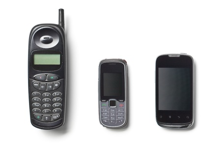 set of three generation cellphones on white background