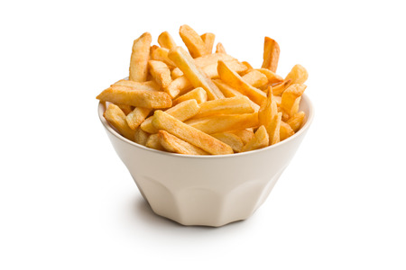 french fries in ceramic bowl on white background