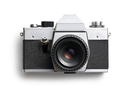 top view of old camera on white background