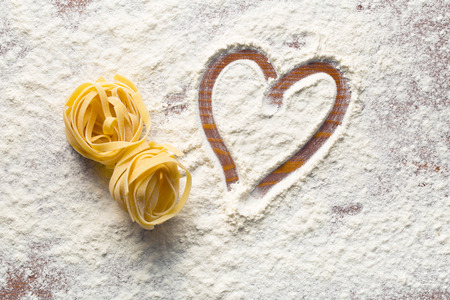 Photo for top view of heart and pasta - Royalty Free Image