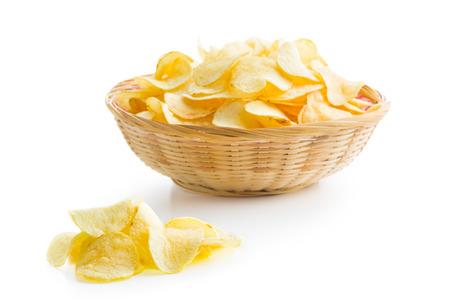 Foto für Crispy potato chips on white background - Lizenzfreies Bild