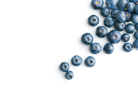 Foto de Tasty blueberries isolated on white background. Blueberries are antioxidant organic superfood. - Imagen libre de derechos