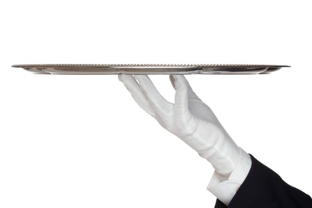 Waiter with white protective gloves holding empty silver tray - white background