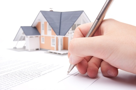 Man confirm mortgage contract (estate agency client sign contract)
