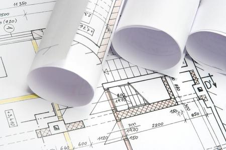 Foto de Studio shot of architecture blueprints - Imagen libre de derechos