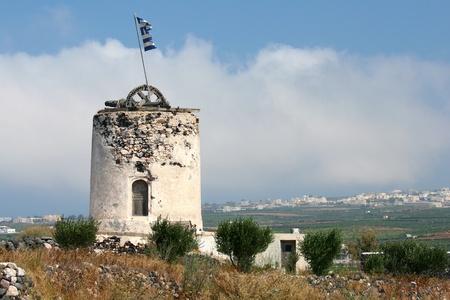 Typical ruin of windmill on Greek island Santorini (horizontal composition)