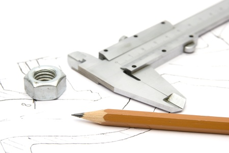 Equipment for engineering - caliper, pencil, nut and blueprint