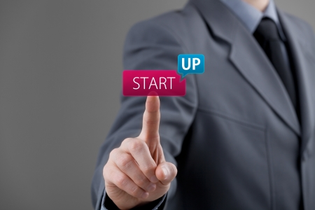 Foto de Man start his startup business. Investor accelerate start-up project concept.  - Imagen libre de derechos