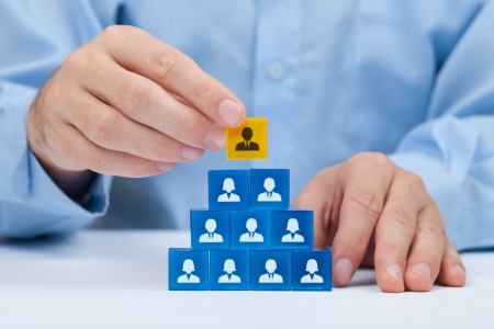 Human resources and corporate hierarchy concept - recruiter complete team by one leader person  CEO  represented by gold cube and icon