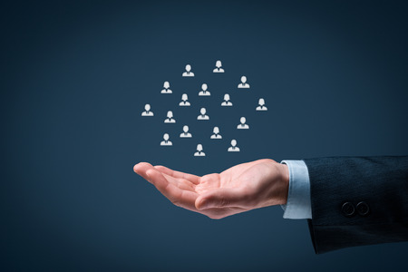 Offer gesture of businessman or personnel and icons representing group of people