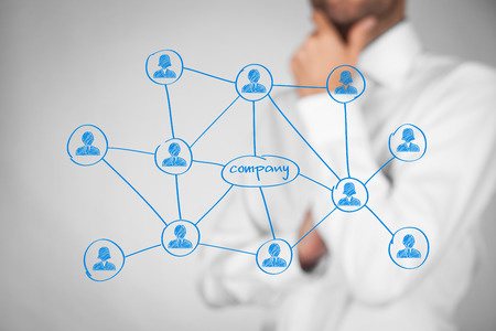 Foto de Employees (staff, workers), customers and right contacts is the most important for company. Corporate social media connections (and B2C) with customers concept. Businessman think about contacts and their benefits for company. - Imagen libre de derechos