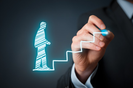 Personal development, personal and career growth, success, progress and potential concepts. Coach (human resources officer, supervisor) help employee with his growth symbolized by stairs.