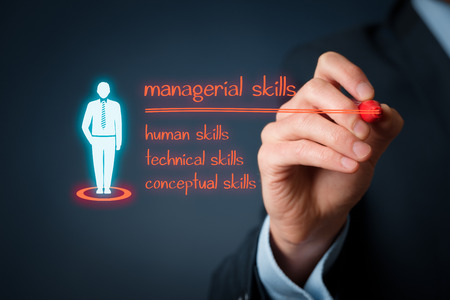 Managerial skills (human skills, technical skills, conceptual skills) concept - businessman write managerial skills on virtual board.