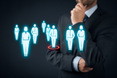 Human resources officer choose employee or team leader (CEO). Individual customer marketing and personalization concept.
