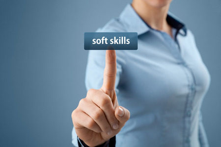 Soft skills - woman click on button to purchase soft skills training.