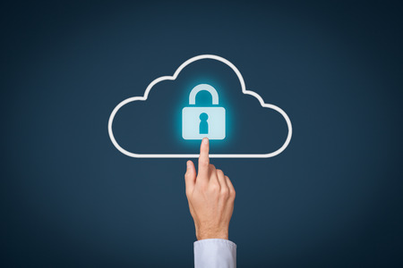 Photo for Cloud computing storage security concept. Safety data management specialist click on cloud computing data storage with padlock. - Royalty Free Image