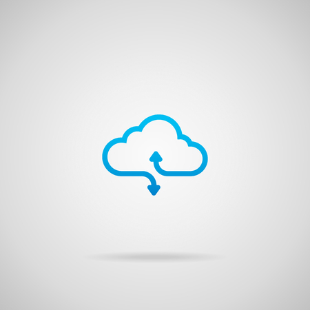 Illustration pour Cloud computing vector icon with arrows illustrating upload and download. - image libre de droit