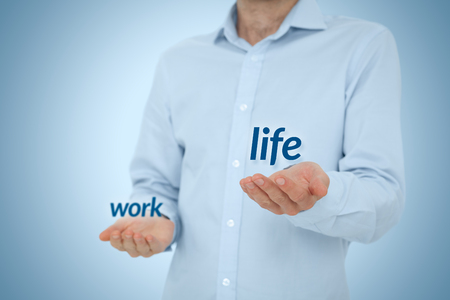 Photo for Work life (work-life) balance concept - man prefer life against work. - Royalty Free Image