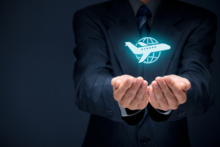 Foto de Travel insurance concept. Insurance agent with protective gesture and icon of plane and globe. Wide banner composition. - Imagen libre de derechos