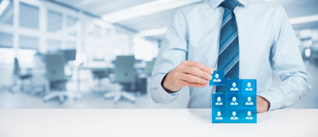 Human resources, social networking, assessment center concept, personal audit or CRM concept - recruiter complete team by one person.