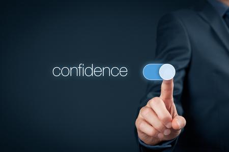 Foto de Confidence improvement concept. Coach or mentor help to increase self-confidence. Businessman switch over confidence. - Imagen libre de derechos