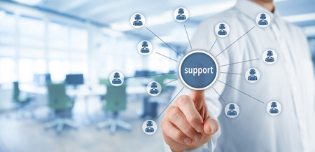 Photo for Customer care support and client service concept. Businessman click on virtual scheme representing helping customer support. Wide banner composition with office in background. - Royalty Free Image