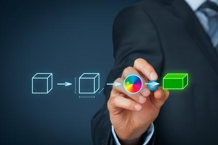 Photo pour Product customization concept. Businessman draw process of customer customized product. - image libre de droit