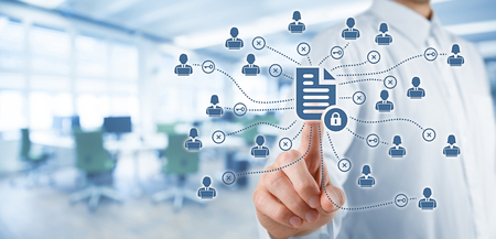 Foto de Corporate data management system (DMS) and document management system with privacy theme concept. Businessman click (or publish) on protected document connected with users, access rights symbolized by key, office in background. - Imagen libre de derechos