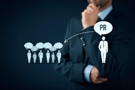 Photo pour Public relations (PR) concept. Businessman think about PR services (public relations) and its impact to public. - image libre de droit