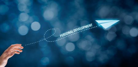 Photo pour Personal development, personal and career growth, progress and potential concepts. Businessman throw a paper plane symbolizing personal development. - image libre de droit